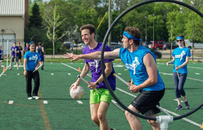 Med students play sports during the M-Home Olympics