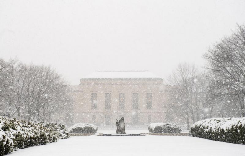 The Rackham Building in the snow