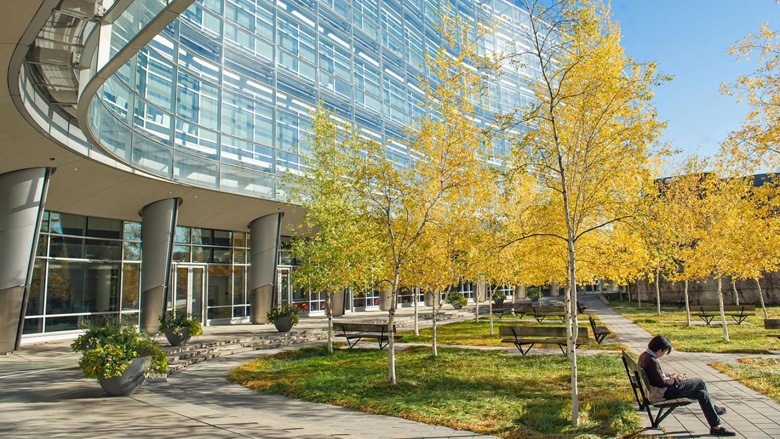Exterior shot of Biomedical Science Research Building a researcher is sitting on a bench underneath a tree in bloom