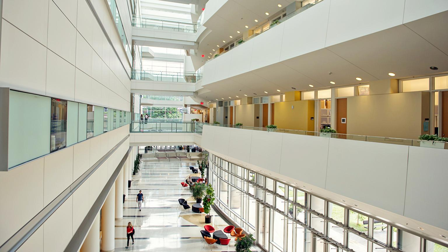 Interior shot of Biomedical Sciences Research Building lobby with comfy chairs, plants, and lots of natural light