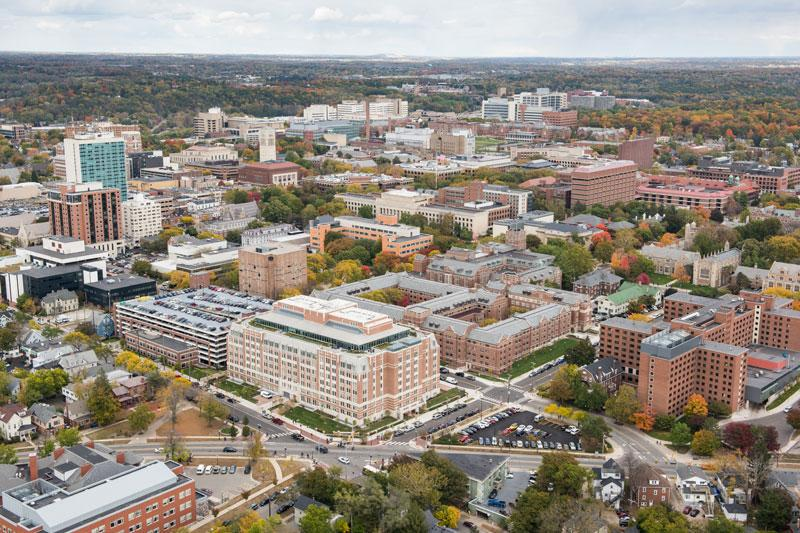 An aerial view of the U-M campus