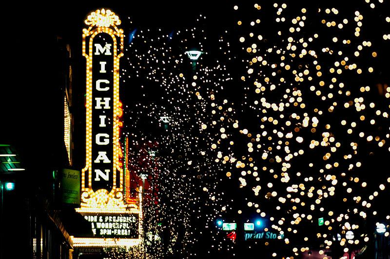 The Michigan Theater marquee lit up at night
