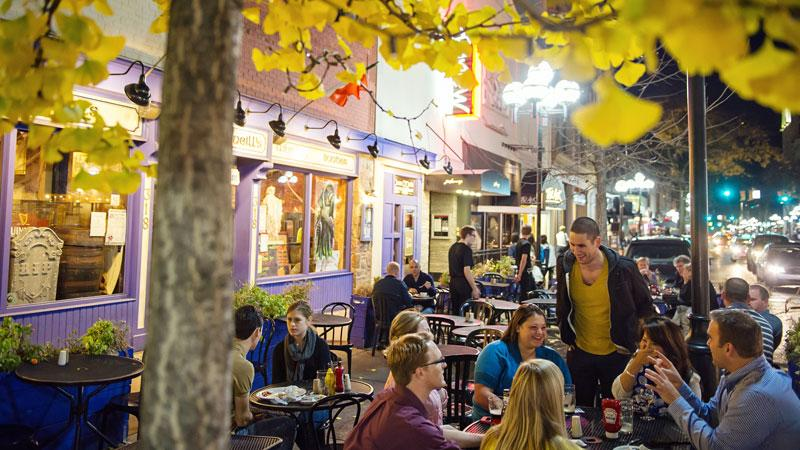Diners in downtown Ann Arbor on a fall night