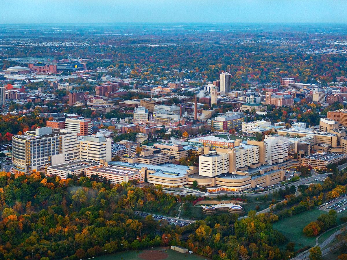 Aerial view of Michigan Medical Campus with fall foliage