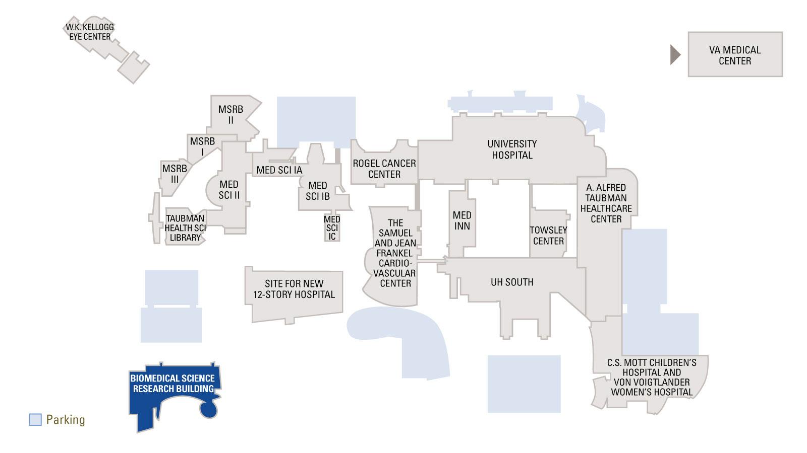 Map overview of Medical Campus with Biomedical Science Research Building highlighted in blue