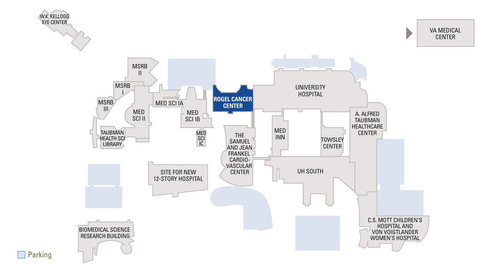Overview Medical Campus map with Rogel Cancer Center highlighted in blue on map