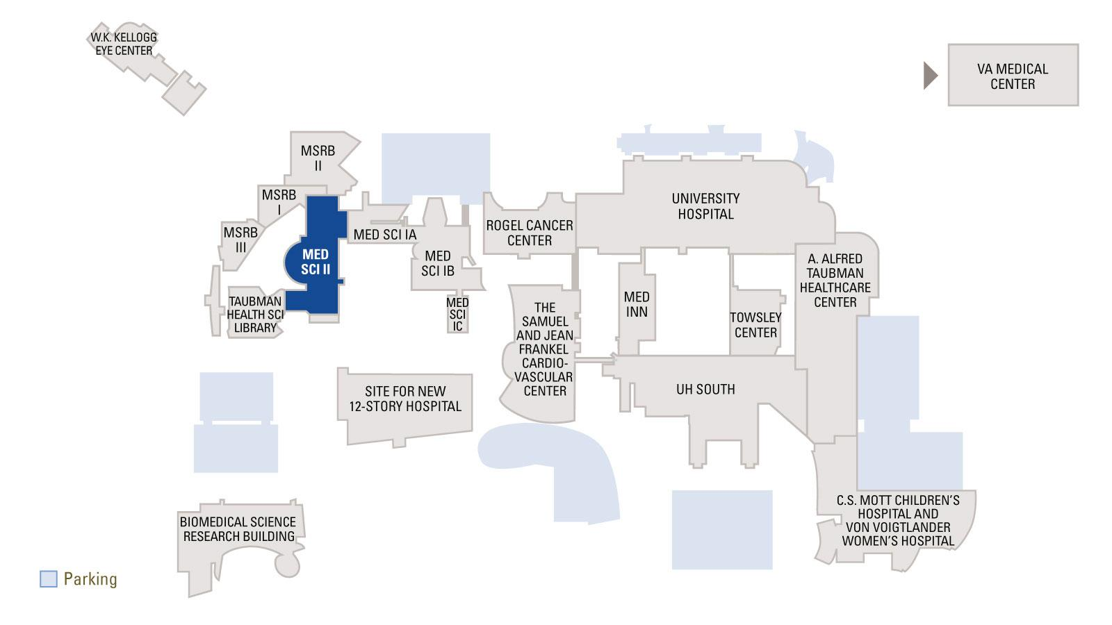Overview map of medical campus with Medical Science Building II highlighted in blue