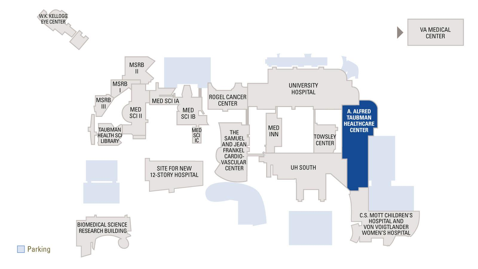 Map of Medical Campus with Taubman Healthcare Center highlighted in blue on the map