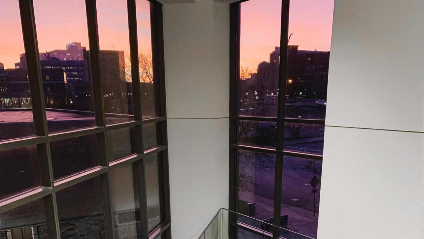 The view of the medical campus at sunset from the library stairwell