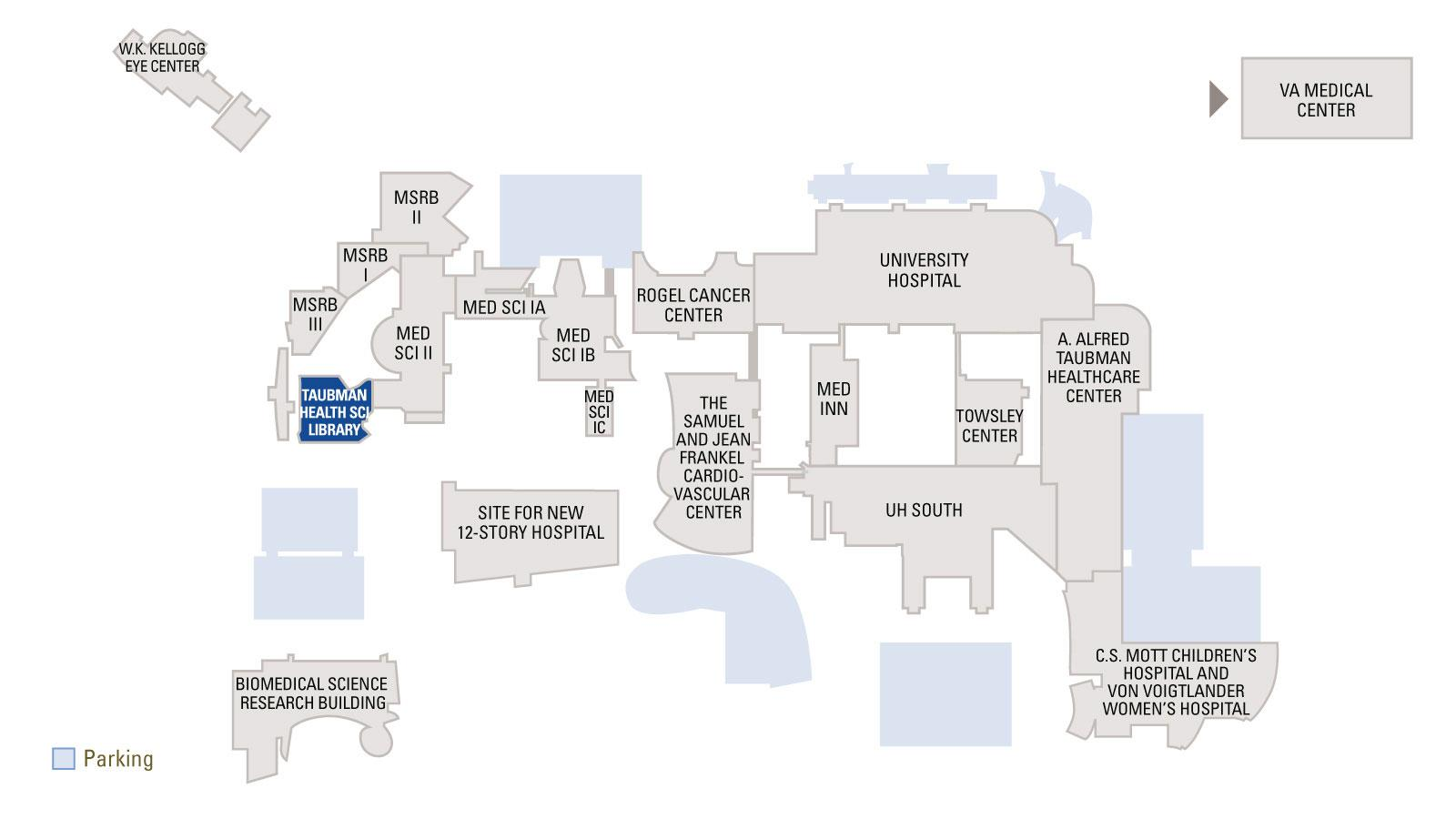 Overview map of medical campus with Taubman Health Sciences Library highlighted in blue