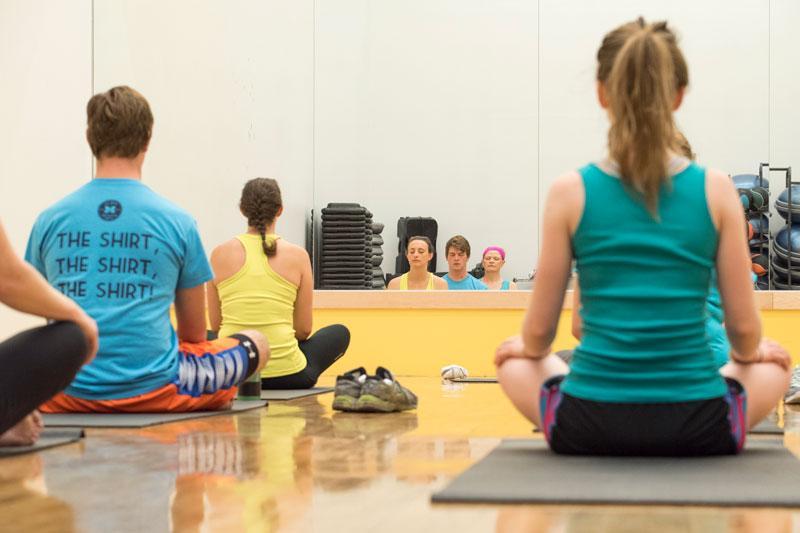 A campus yoga class