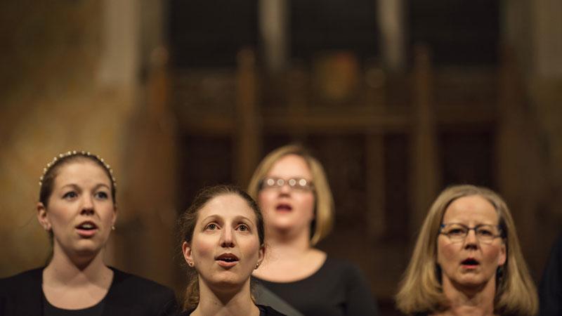 Singers in a church choir