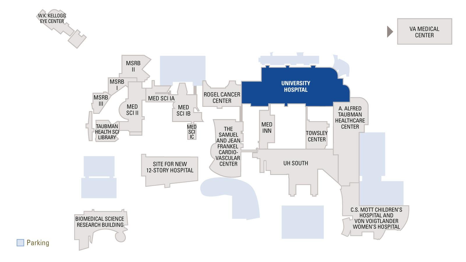 Map view of Medical campus with University Hospital highlighted in Blue