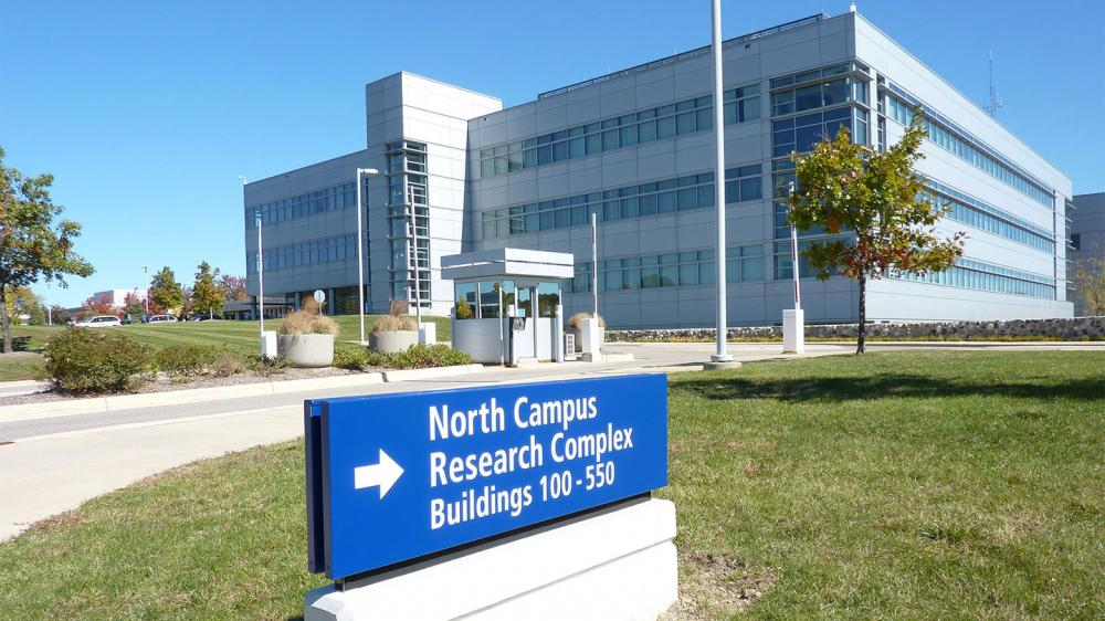 Exterior shot of NCRC with sign that says Buildings 100-500
