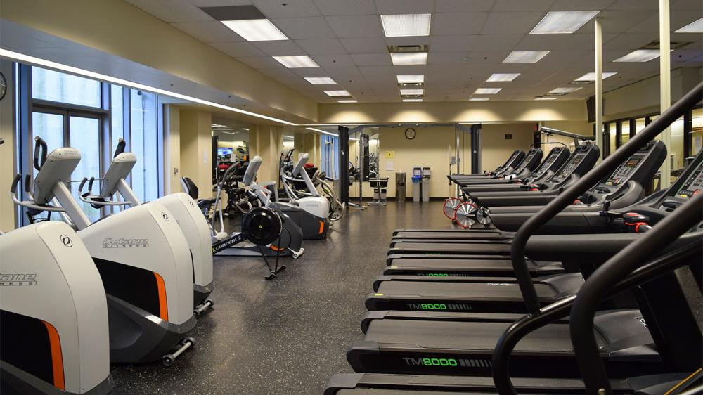 Empty gym with different workout machines including treadmills and stair climbers