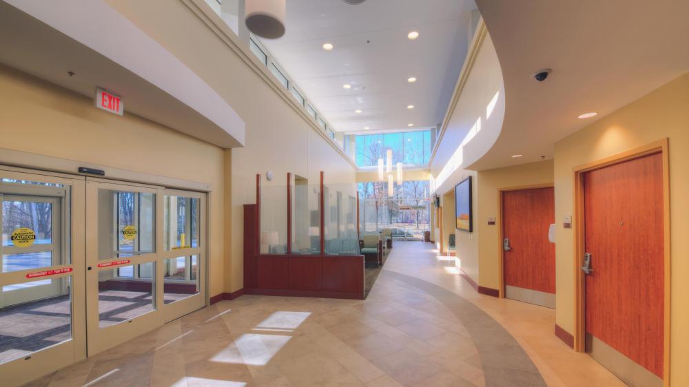 Entrance to lobby area of hospital
