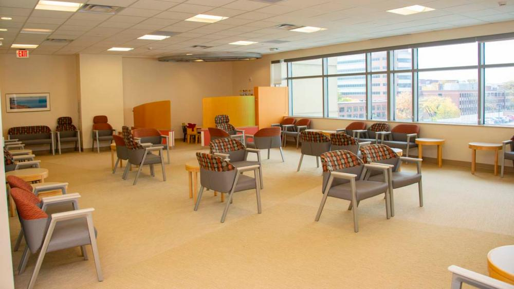 Large waiting room with empty chairs