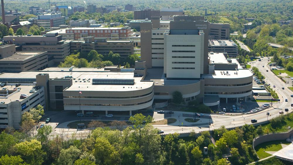 Exterior aerial view of the Taubman Health Center with the University Hospital in the background