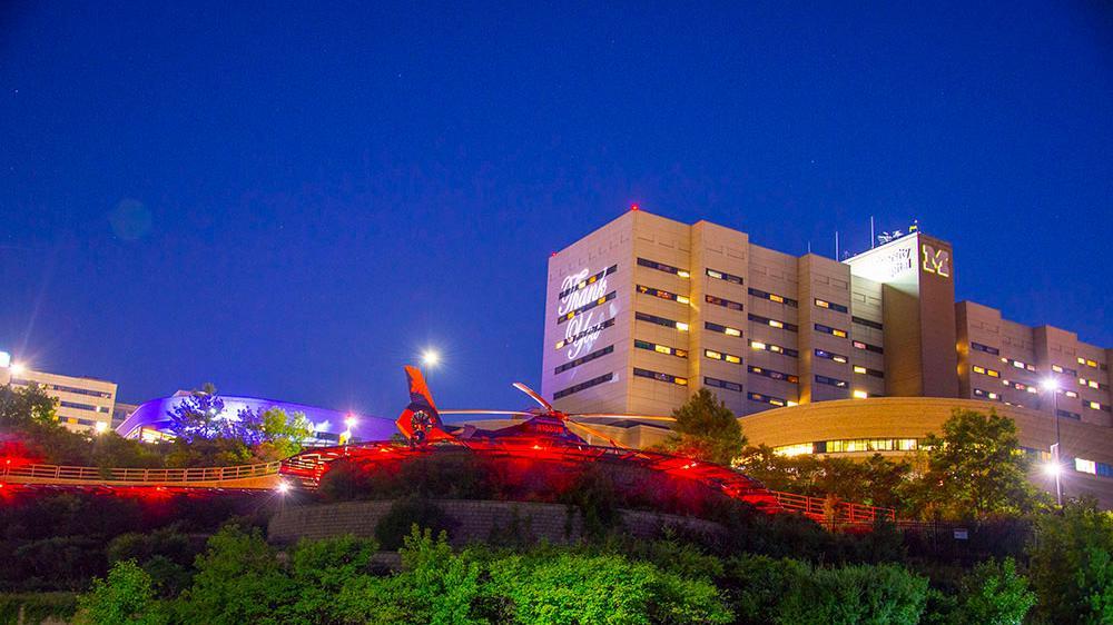 survival flight helipad at night next to the University Hospital