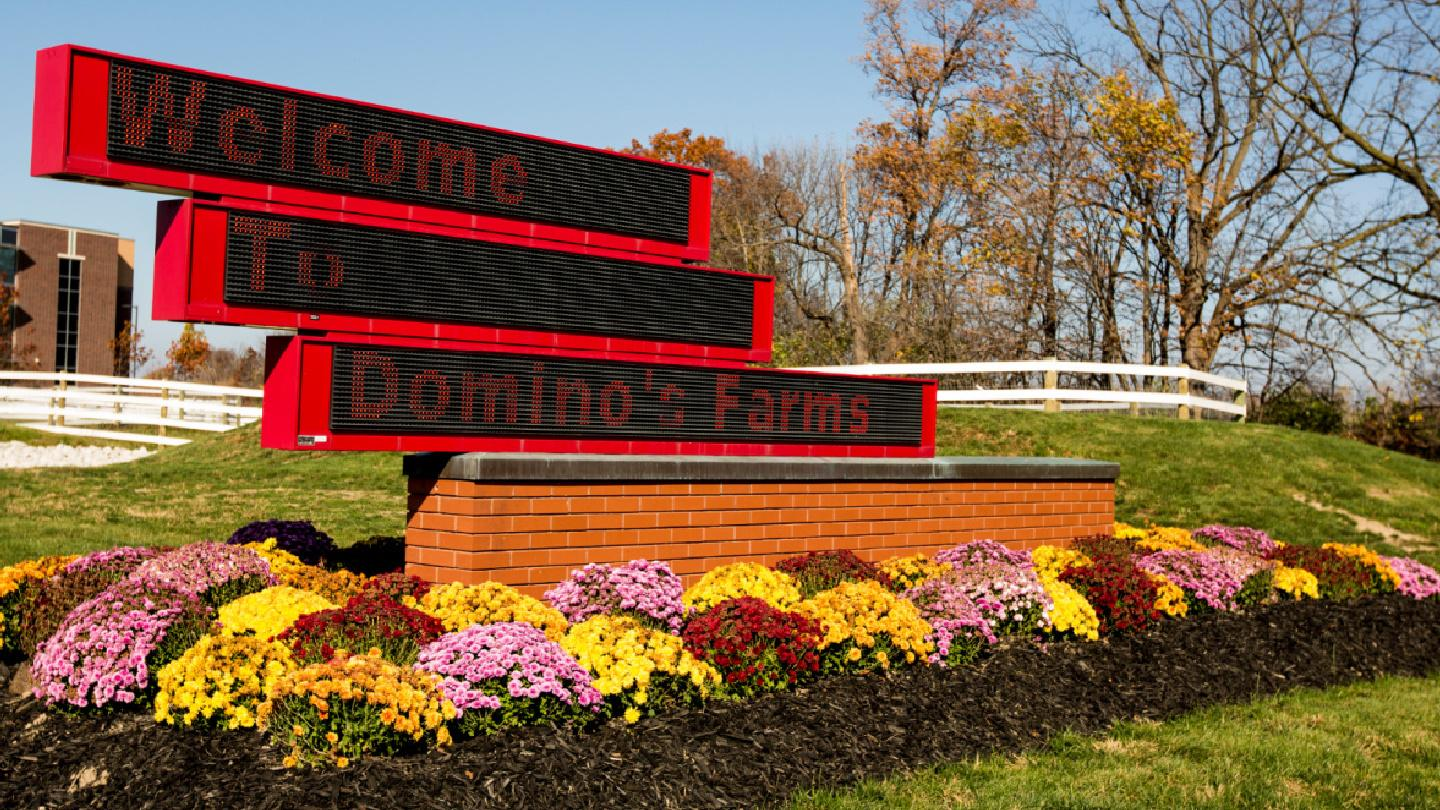 Signage that says Welcome to Domino's Farms