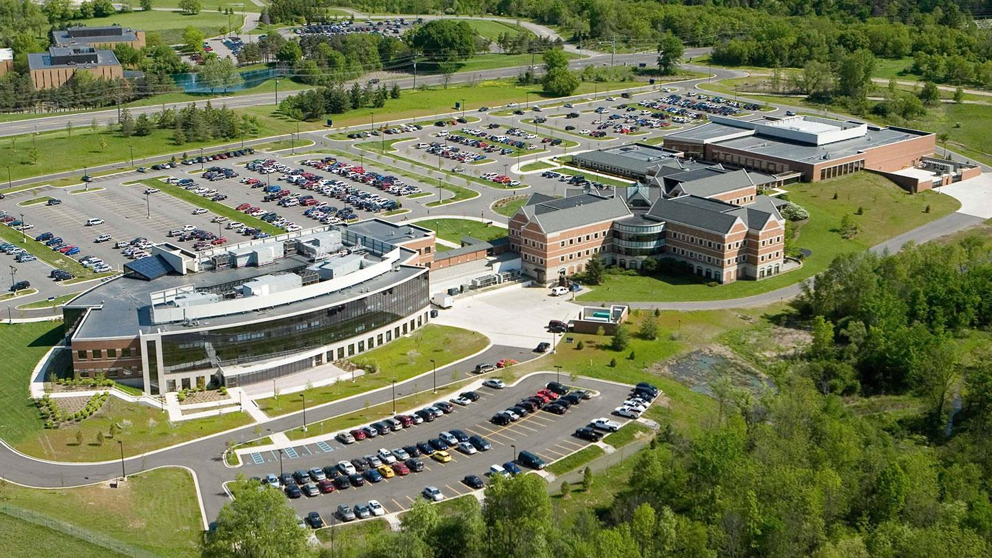 Aerial view of a large suburban medical campus